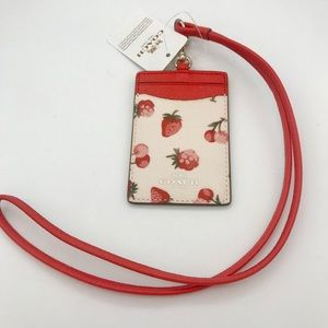 Coach Lanyard ID Holder Canvas Leather Fruit Chalk